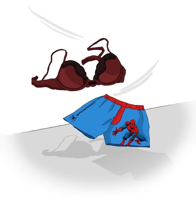 Dessin plan cul - Soutien-gorge et caleçon spiderman