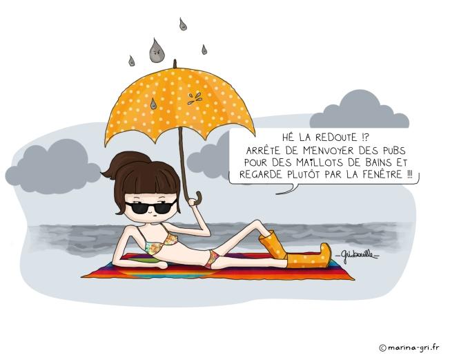 Plage sous la pluie