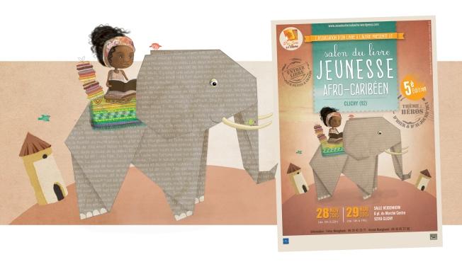 Illustratrice affiche salon du livre jeunesse afro caribéen