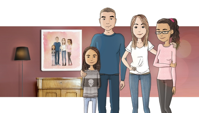Portrait de famille illustré - Marina Gri illustratrice