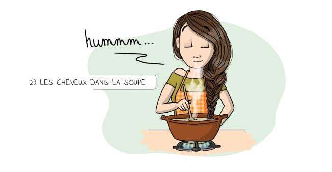 Illustration cheveux dans la soupe