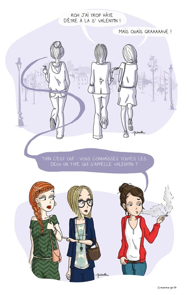 Illustration - Les filles et la Saint Valentin