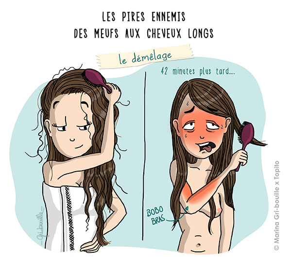 Marina Gri illustration - Fille cheveux longs démêlage fatiguant