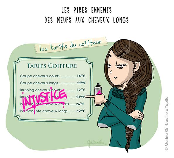 Marina Gri illustration - tarifs coiffeur Fille cheveux longs