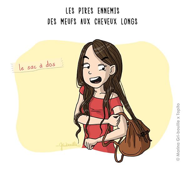 Marina Gri illustratrice - Fille cheveux longs coincés sac à dos