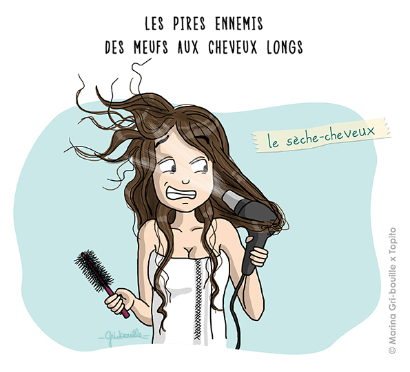 Marina Gri illustratrice - Fille cheveux longs seche cheveux