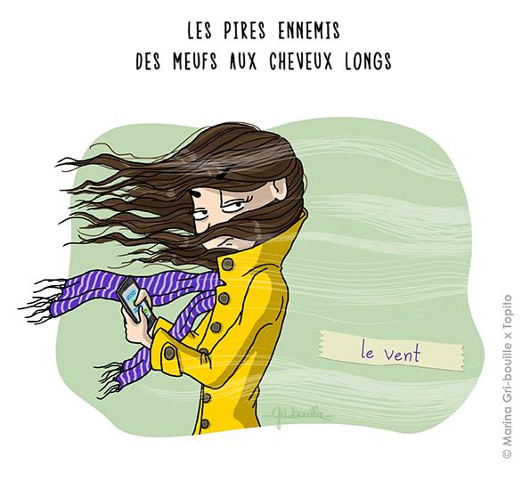Marina Gri illustratrice - Fille cheveux longs vent