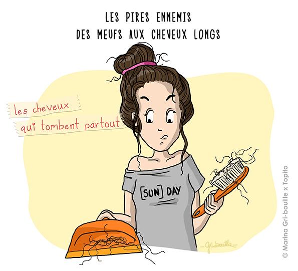 Marina Gri illustratrice - Fille cheveux qui tombent balais