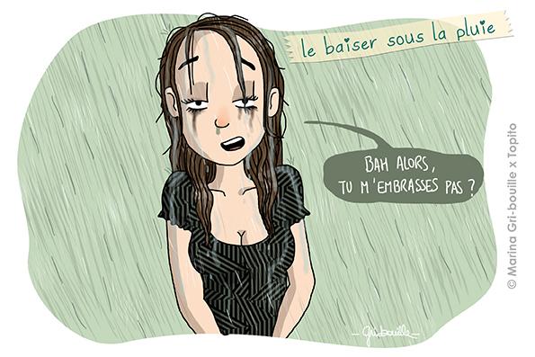 Illustration baiser sous la pluie mascara qui coule