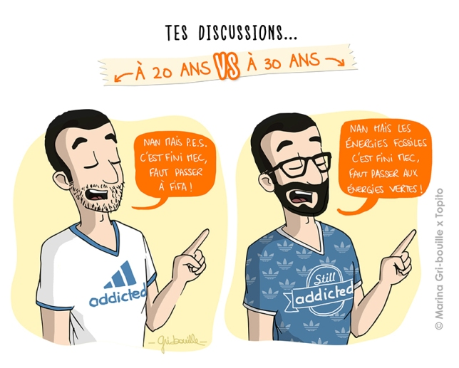 Différence 20 ans  vs 30 ans - Illustration discussions - Marina Gri Bouille