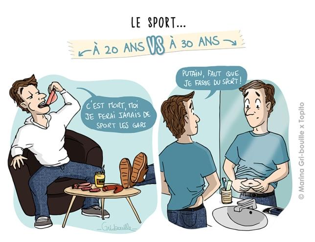 Différence 20 ans  vs 30 ans - Illustration faire du sport - Marina Gri Bouille