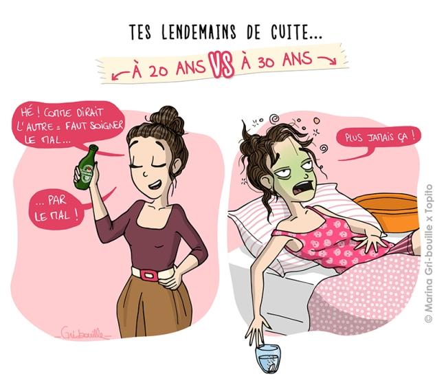 Différence 20 ans  vs 30 ans - Illustration gueule de bois - Marina Gri Bouille