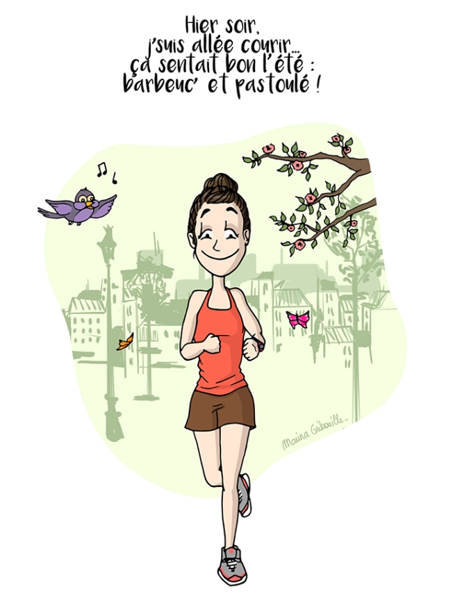 Illustration Footing Course à pied printemps soleil - Marina Gri-Bouille
