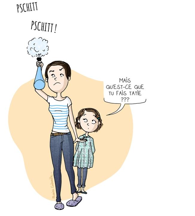 Illustration femme pschitt produit enfant tatie araignées - Marina Gribouille blog BD