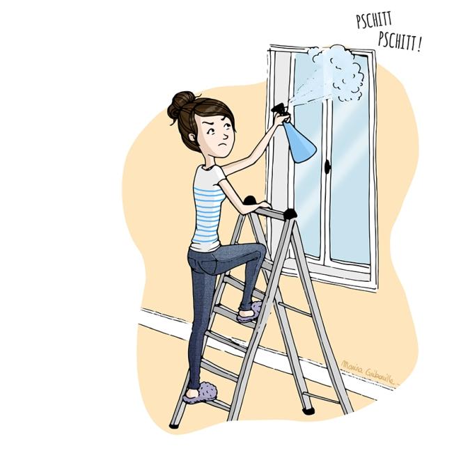 Illustration femme pschitt produit fenêtre escabeau araignées - Marina Gribouille illustratrice