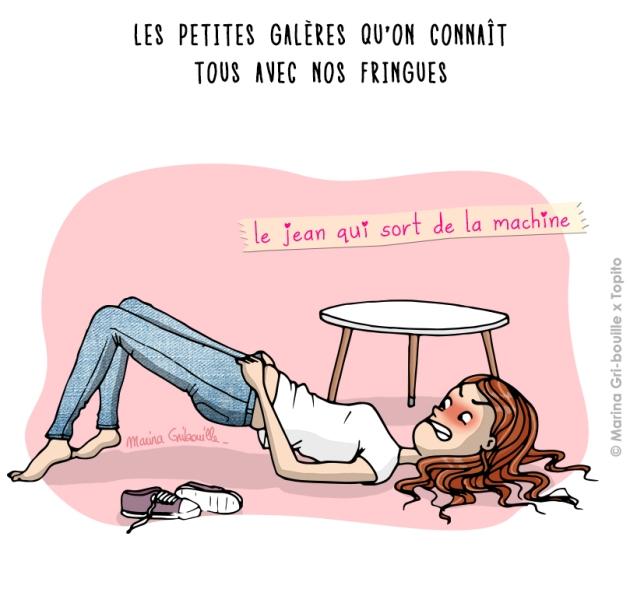 Illustration jean trop serré - Marina GriBouille et Topito