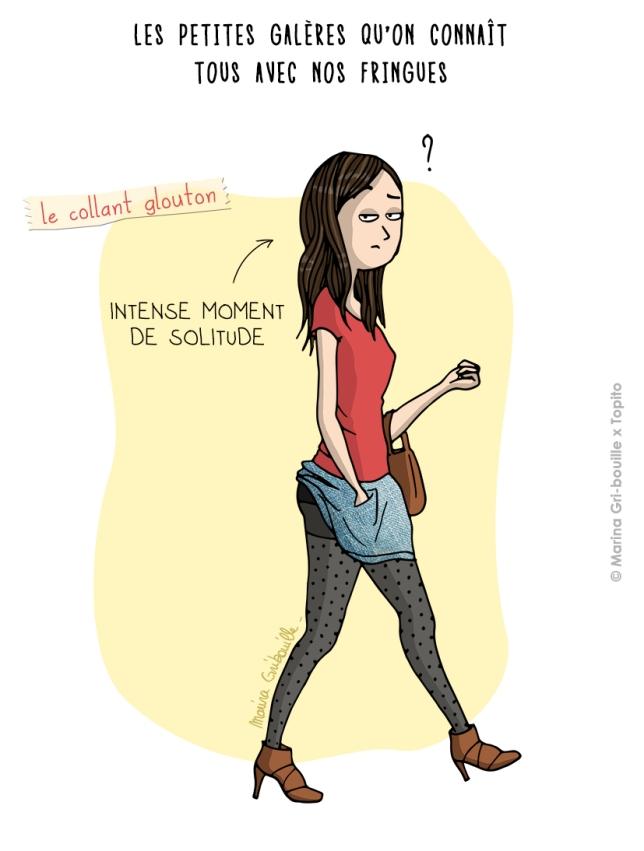 Illustration jupe coincée dans le collant - Marina GriBouille et Topito