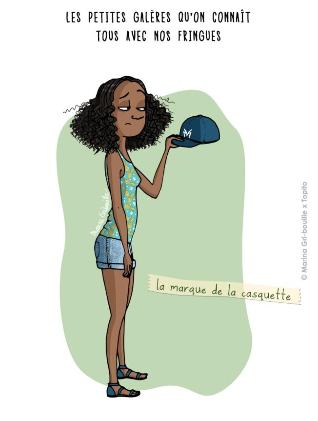 Illustration marque de la casquette cheveux plats - Marina GriBouille et Topito
