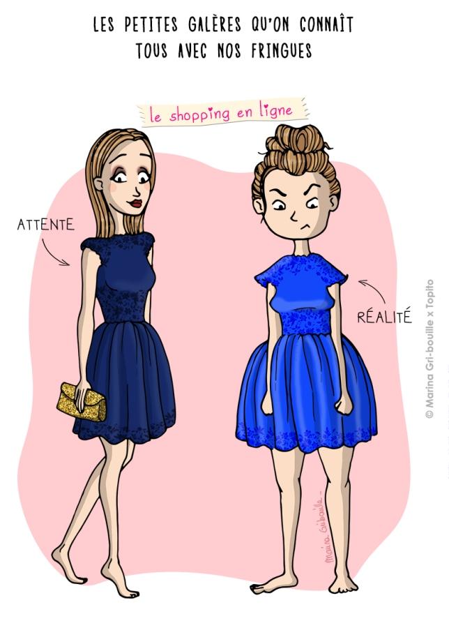 Illustration shopping en ligne attente vs réalité - Marina GriBouille et Topito