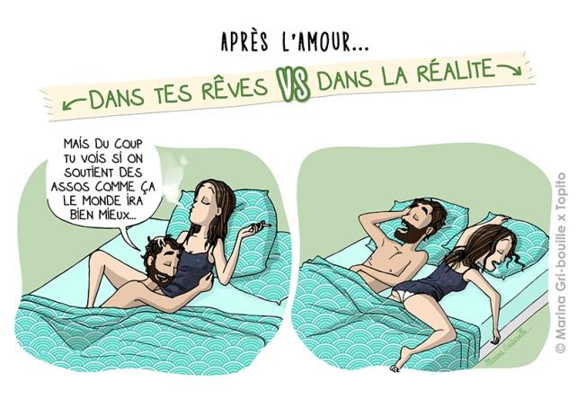 Sexe, rêve VS réalité - Dormir après l'amour -Illustration Marina Gri-Bouille Topito