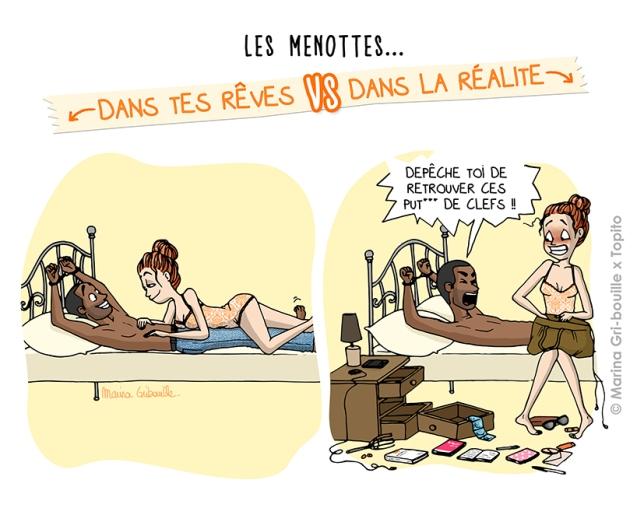 Sexe, rêve VS réalité - Faire l'amour avec des menottes -Illustration Marina Gri-Bouille Topito