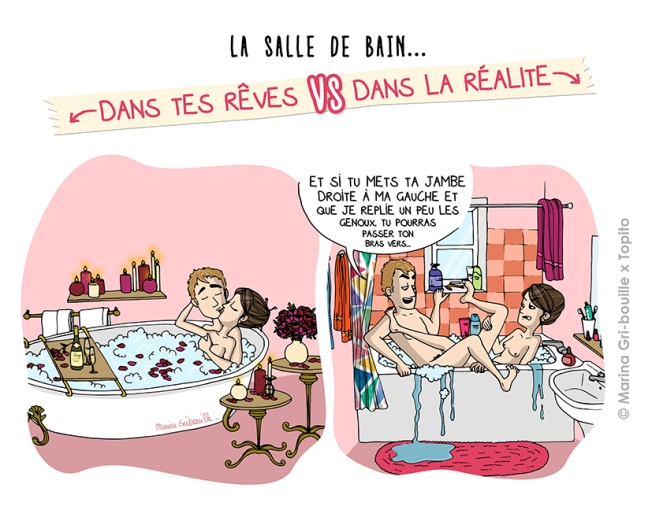 Sexe, rêve VS réalité - Faire l'amour dans la baignoire -Illustration Marina Gri-Bouille Topito
