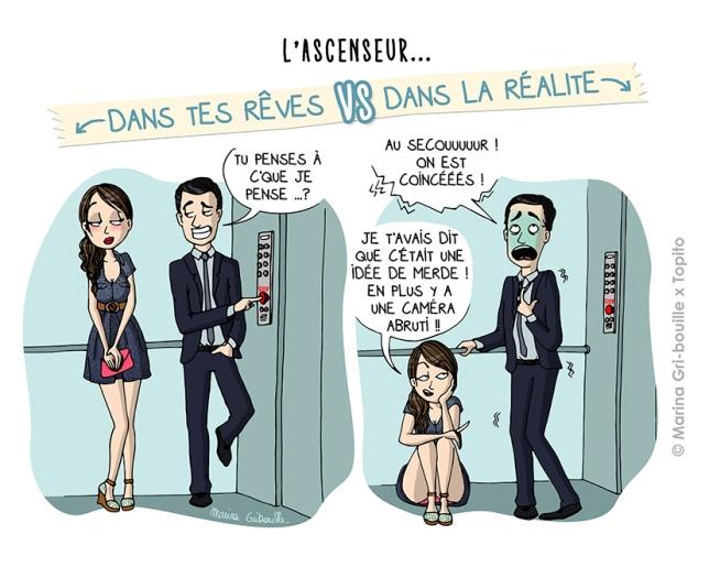 Sexe, rêve VS réalité - Faire l'amour dans l'ascenseur -Illustration Marina Gri-Bouille Topito