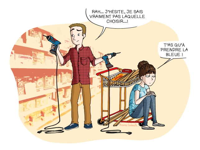 Homme shopping magasin bricolage perceuse
