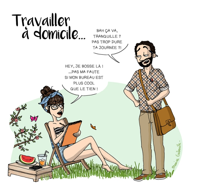Home office - Illustration Marina Gri-Bouille télé-travail