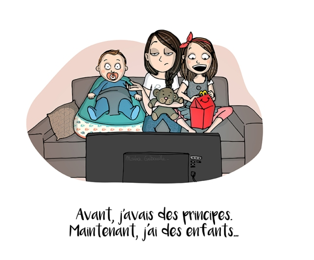 Maman canapé enfants mac Do - Illustration Marina Gri-Bouille