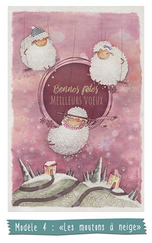 Modèle 4 - Les moutons à neige - Carte de voeux illustrée - Marina Gri-Bouille